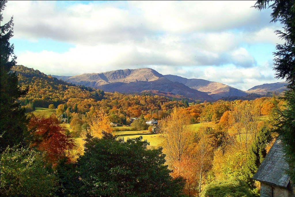 Autumn over Wetherlam from the fellside garden's patio