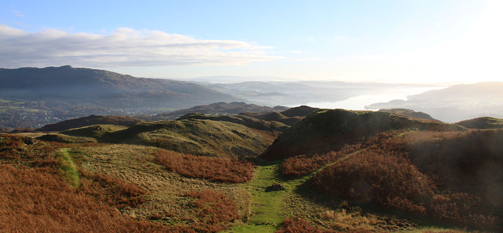 The broad summit ridge of Loughrigg Fell - looking towards Windermere.