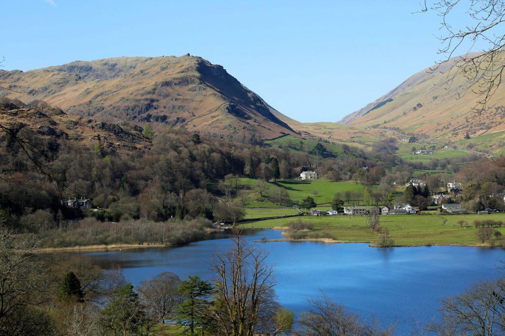 Helm Crag - aka The Lion and the Lamb - beyond Grasmere from Loughrigg Terrace.
